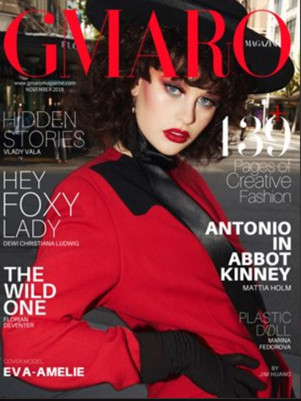 Eva-Amelie photgraphed for GMARO Magazine by Jim Huang, styling by Lenard Johnston, make up by Abbie Ahmed