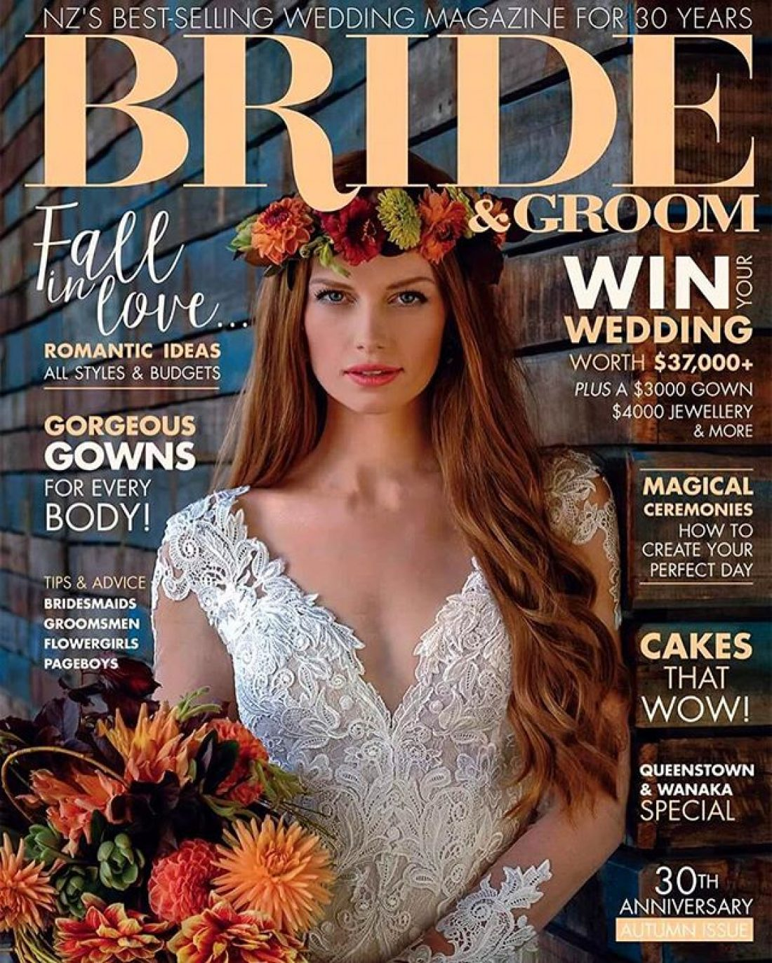Nic photographed by Neil Gussey for NZ Bride & Groom Magazine