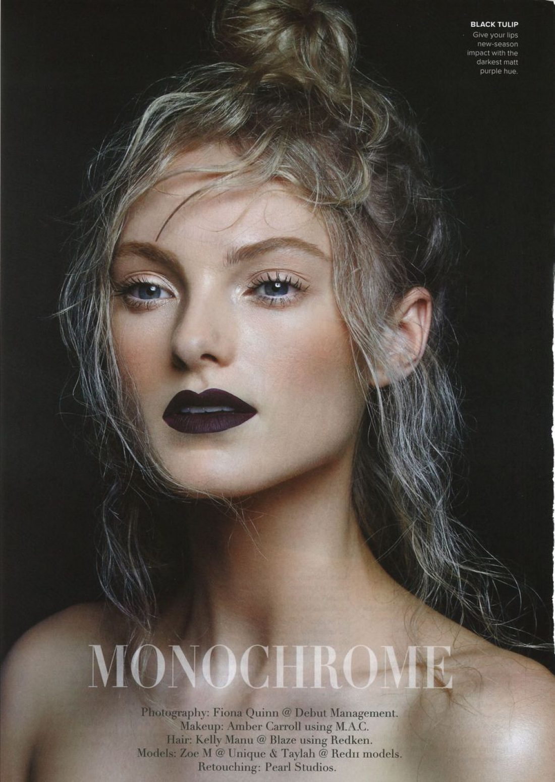 Zoe photographed by Fiona Quinn for M2 Magazine; Makeup by Amber Lou Carrol