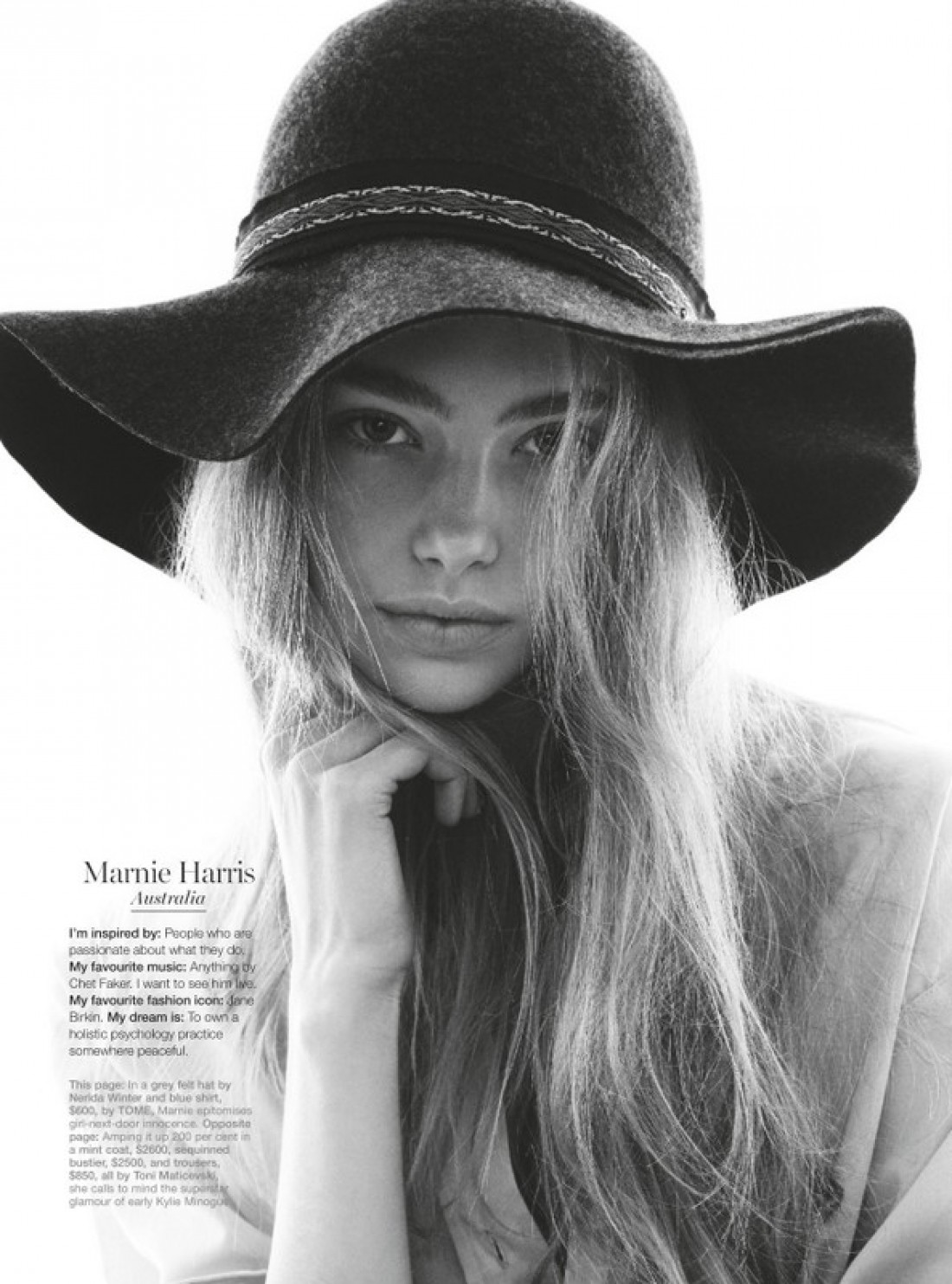 Marnie for Marie Claire shot by Nicole Bentley, styling by Jana Pokorny