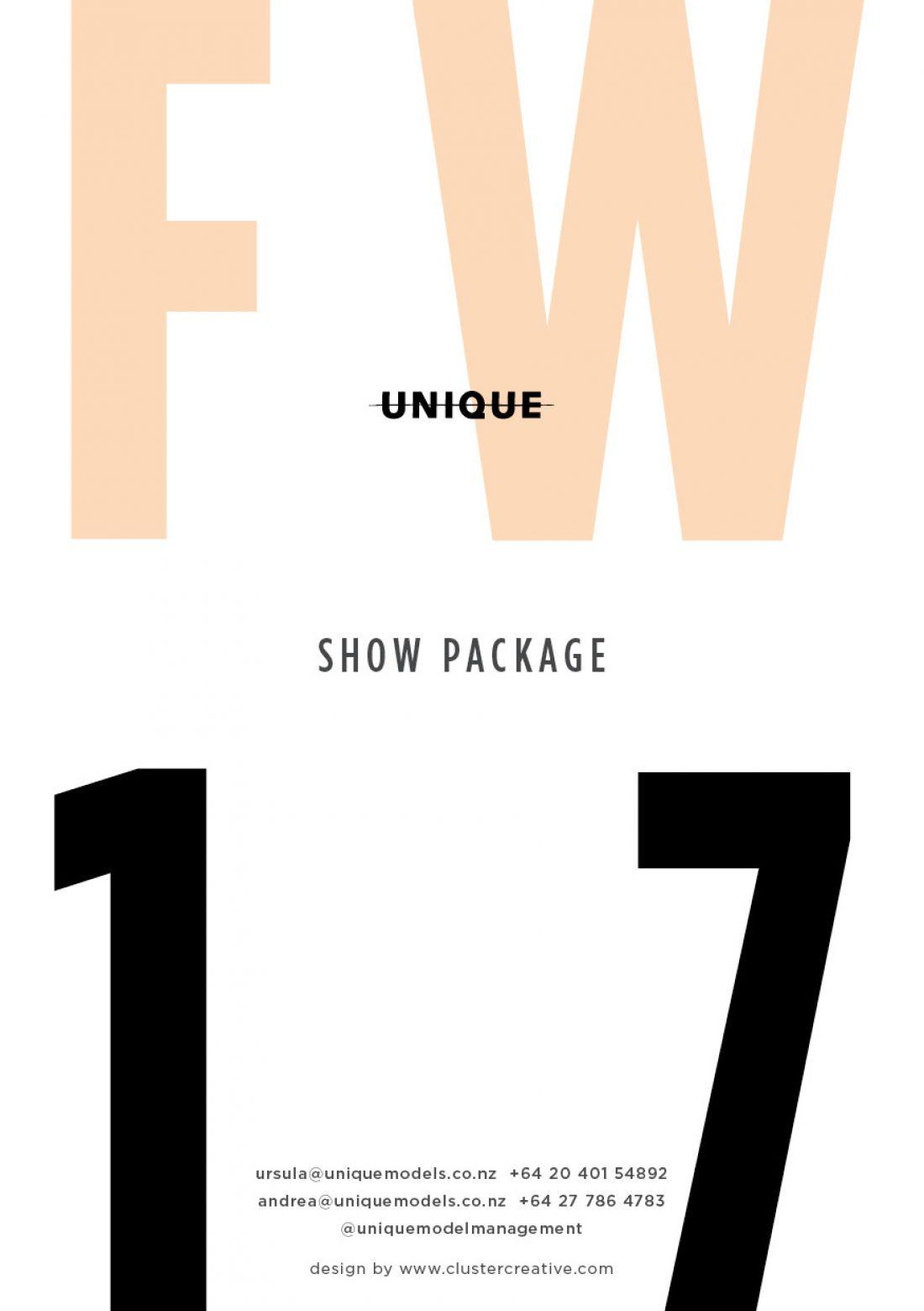 NZFW Showpackage FW '17 designed by Tim Dove @ www.clustercreative.com