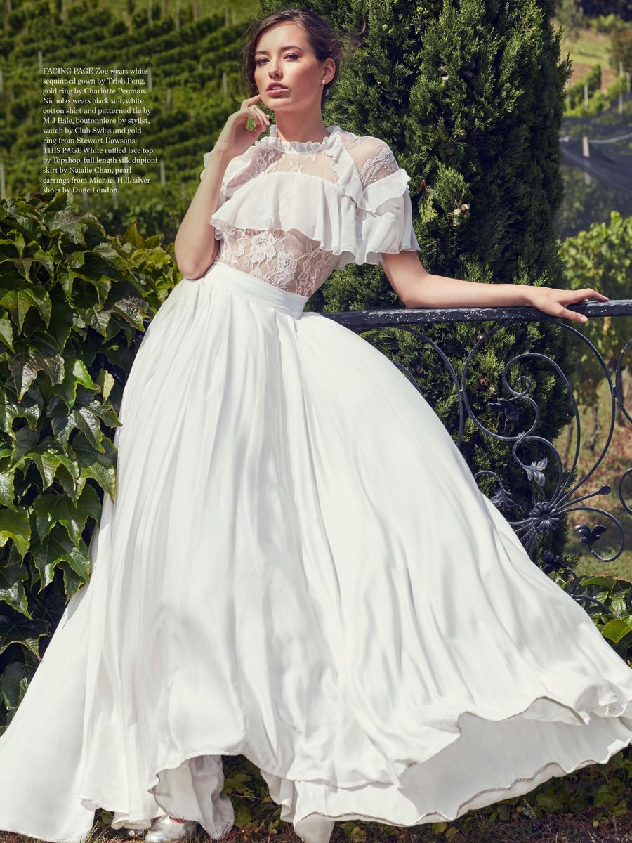 Zoe S photographed by Marissa Findlay for New Zealand Weddings Magazine: Styling Ana MacDonald ; Mua: Stacy Lee Ghin