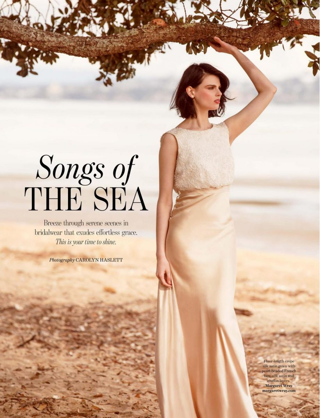 Lily photographed by Carolyn Haslett for NZ Weddings Magazine. Hair & Makeup by Lisa Welch , Assist: Frances Carter, Styling Assist: Elizabeth Davies