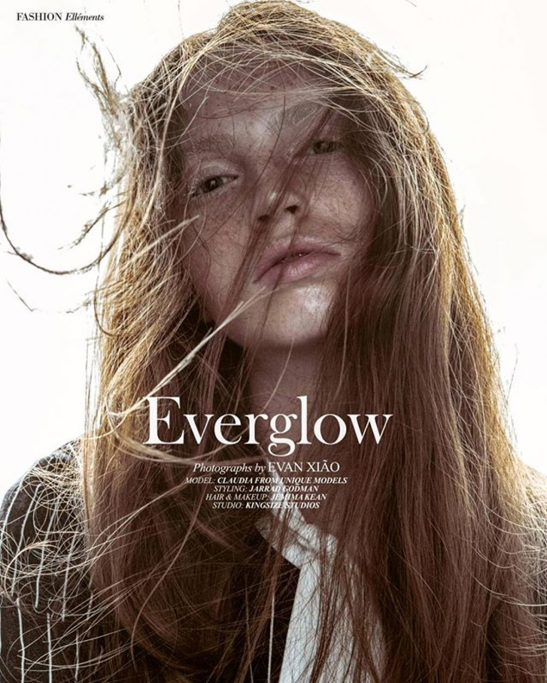 Everglow: Claudia photographed by Evan Xiao for Ellements Magazine: Styling : Jarrad Goodman Mua: Jemima K