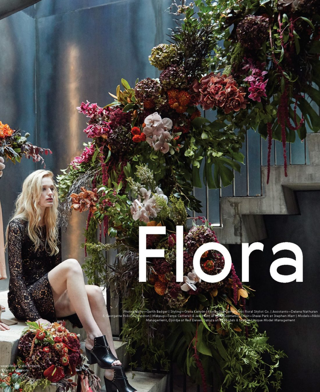 Leah photographed by Garth Badger for Together Journal : Luxe wedding glamour from our Flora Fashion shoot in issue 12 – Styling by @gretanz, Flora @floralstylist, Makeup @maccosmetics, Hair @stephen_marr.  Leah @uniquemodelmanagement wears lace dress by @worldbrandinnz with black mules by @chaosandharmonyshoes