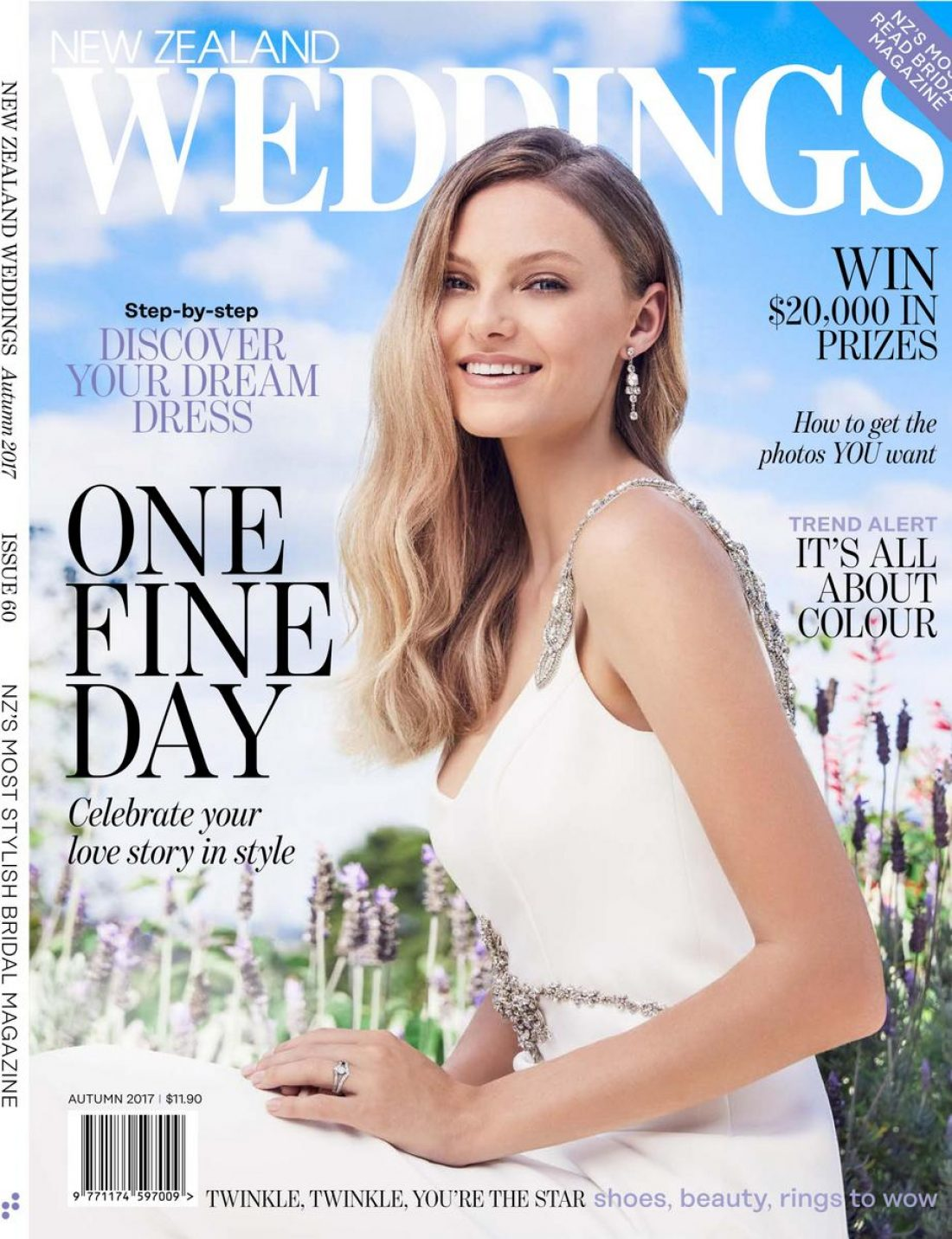 Zoe photographed by Carolyn Haslett for the cover of NZ Weddings Magazine wearing Anna Schimmel ; Mua : Natalie Dent