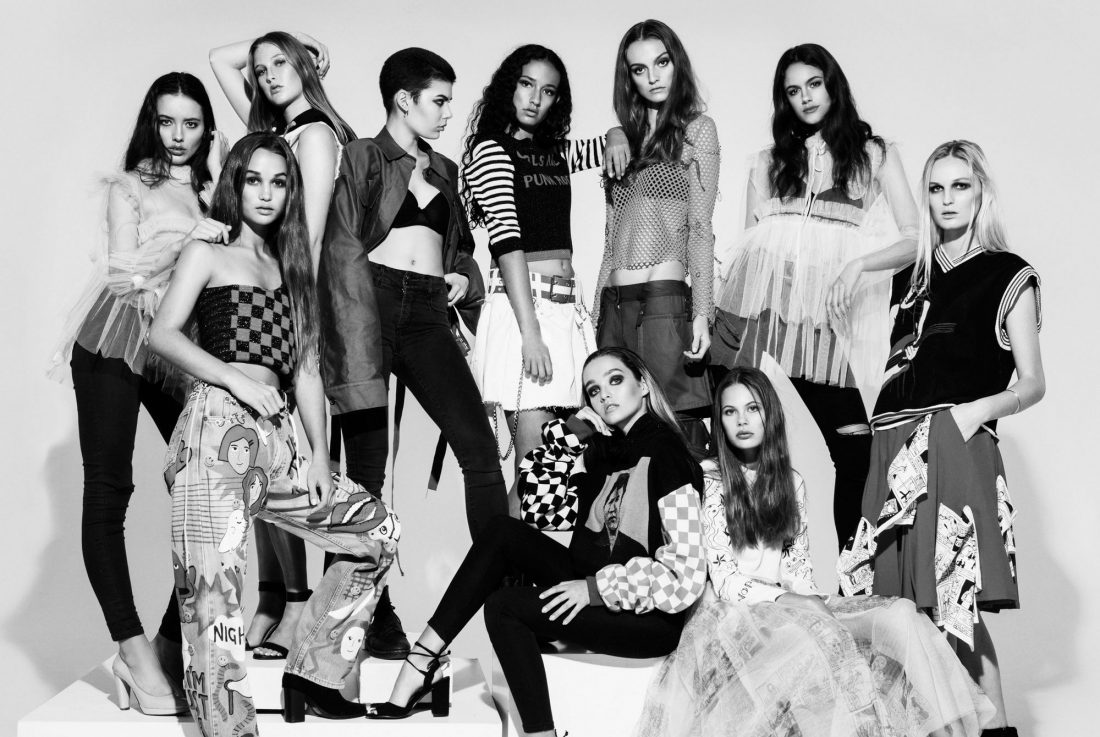 Alaina, Lauren, Georgia, Monika, Olivia Shaikh, Rose, Hope, Leah, Zoe, Brooklyn for UNIQUE 3rd Birthday shoot, photographed by Maegan McDowell @ Smith Studios in Nicola Luey and Tia Feng Designs with makeup by The Makeup School NZ